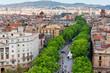 Leinwanddruck Bild - Las Ramblas of Barcelona, Aerial view
