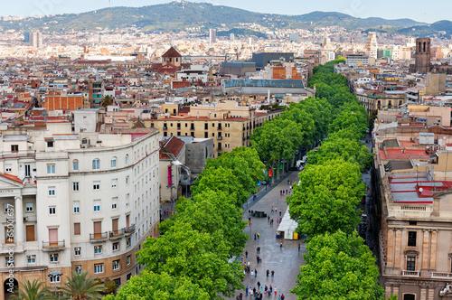Las Ramblas of Barcelona, Aerial view - 65001637