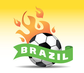 brazil soccer ball with flames
