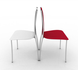Two chairs. 3d illustration