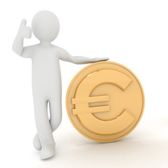 3d man rely on euro. Render illustration