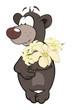 Bear cub and a flowers. Cartoon