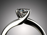 Ring with diamond isolated on gray background - 65002605