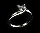 Ring with diamond isolated on gray background - 65002691