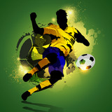 Fototapety Colorful soccer player shooting