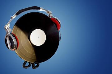 Dj headphones with vinyl, isolated.