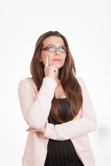woman  thinking pondering making decisions