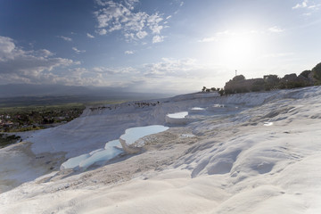 natural travertine pools and terraces, Pamukkale, Turkey