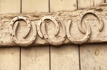 Horse shoes nailed to old wooden door