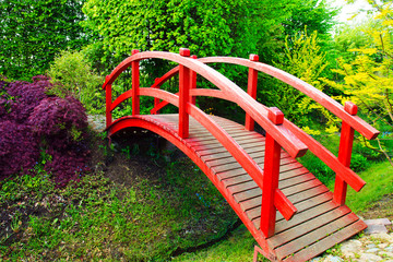 Red bridge in Japanese style garden