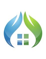 logo nature house shelter house plants healt clean modern