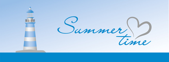 Summer time sign on the blue background with lighthouse