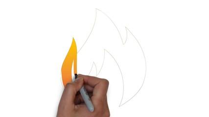 Feuer Flamme Symbol Kamin Feuerholz Zeichnung Hand