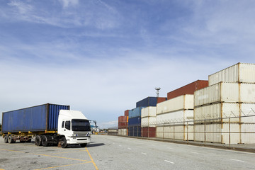 Containers and Truck at Harbour Department