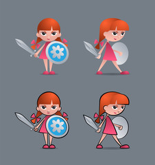 Cartoon young girl as brave little knight with sword and shield