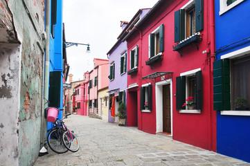 Multicolored houses of Burano island. Venice. Italy.