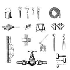 outils de plomberie vintage en vecteur