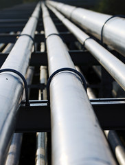 long steel pipe in oil refinery station