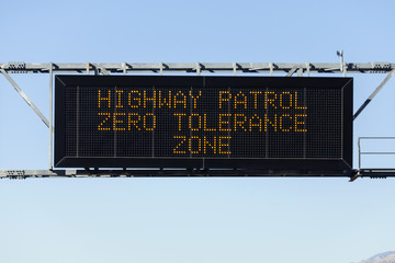 Zero Tolerance Freeway Sign