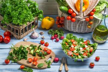 Preparing a healthy vegetable salad