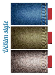 Color denim texture with sewing and red labels, vector