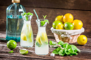 Fresh cold drink lemon with sugar