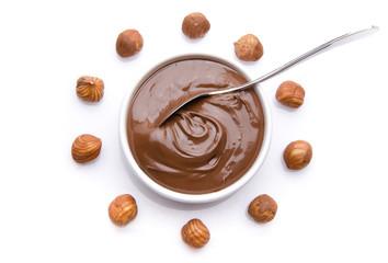 Composition of chocolate hazelnut spread with hazelnuts