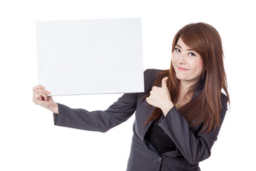 Asian businesswoman  thumbs-up with a blank sign