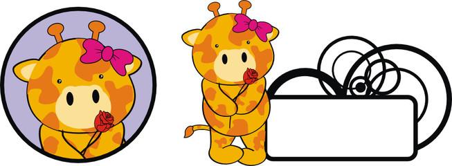 giraffe baby cartoon cute rose girl