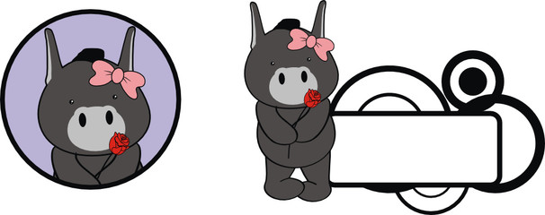 donkey cute baby valentine cartoon rose girl
