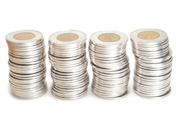 Silver  coins stack on white background