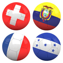 3D soccer balls with group E teams flags, Football Brazil 2014.
