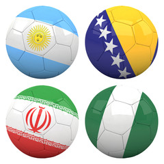 3D soccer balls with group F teams flags, Football Brazil 2014.