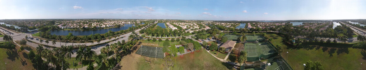 Suburban Florida 360 degredd aerial view