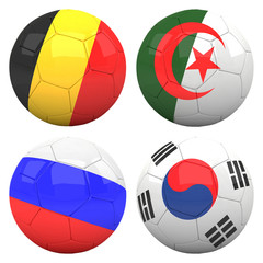 3D soccer balls with group H teams flags, Football Brazil 2014.