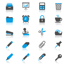 Office supplies flat with reflection icons