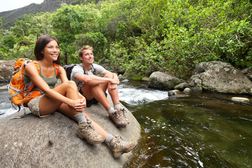 Hiking couple hikers in outdoor activity on Hawaii
