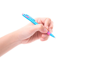 hand holding Blue pen on white background