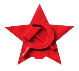 Red star with hammer and sickle, isolated on white.