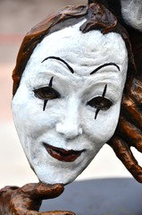Female Mime Face Statue