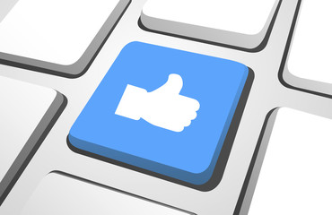 Blue Thumbs Up Computer Icon On A Keyboard Button