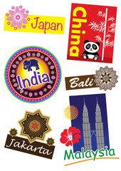 Asia country travel icon set