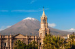 Leinwanddruck Bild - Volcano El Misti overlooks the city Arequipa in southern Peru