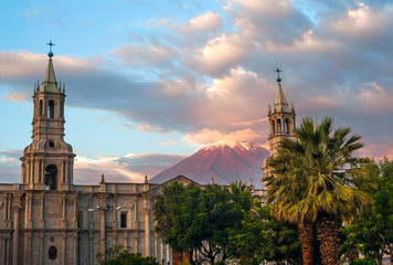 Volcano El Misti overlooks the city Arequipa in southern Peru
