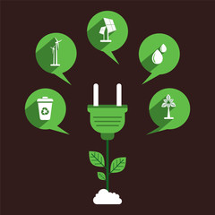 creative renewable energy icon design concept vector