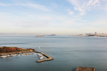 Boats in Horseshoe Bay on background of Alcatraz and San Francis