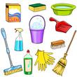 Cleaning supplies cartoon set - 65017480