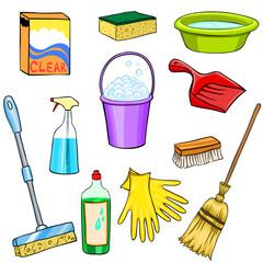 Cleaning supplies cartoon set