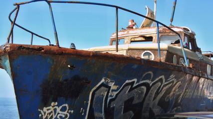 Старый военный морской катер. Крым Ялта
