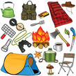 Set of camping gear in cartoon style
